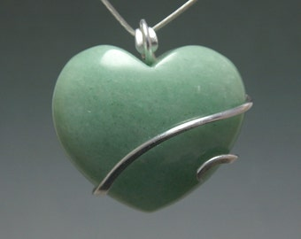 Aventurine Heart Cold Forged Pendant