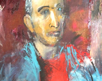 Expressionist oil painting man portrait