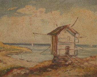 Antique impressionist landscape seascape oil painting windmill