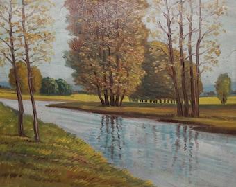 Vintage impressionist oil painting landscape river