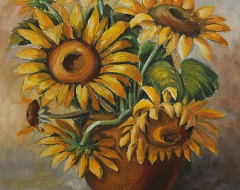 Still Life with sunflowers oil painting signed