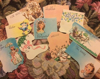 Lot of Ten 1940s Gift Tags with Various Designs for All Occasions
