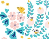 Meadow Blossoms White- LOTUS POND - Cloud9 Organic Cotton Fabric - 1 yard