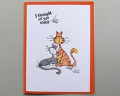 Thinking of you card with cartoon cats