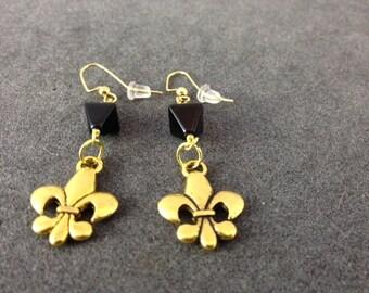 Gold Fleur de Lis Earrings with Black Diamond shaped Beads