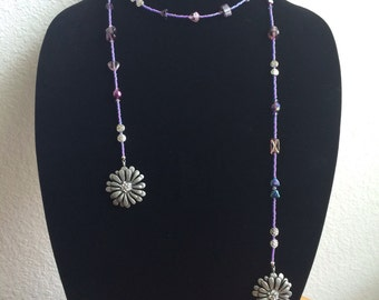 Purple, open ended necklace