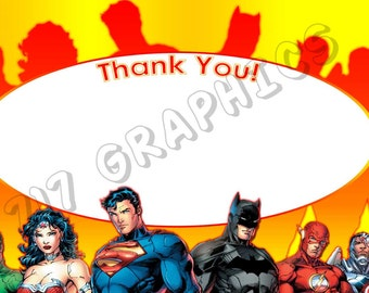 Justice League 4x6 Thank You Card - Printable