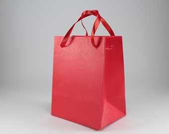 10 Extra Small Gift Bags - Red Satin Ribbon Handles - Red Paper Gift Bags - Party Gift Bags - Bridal Shower favor Bags