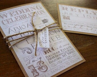 Vintage Wedding Invitation Set,Rustic Wedding Invitation,Rustic Chic  Wedding Invitation,Vintage Chic