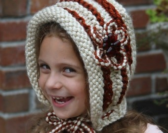 Ivory and brown knitted hat. Knitted girl hat. Girls knit hat. Winter hat. Flower hat. 20% wool. For age 4-7