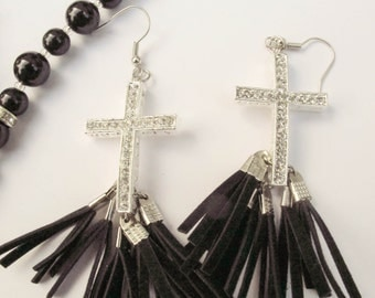 Hand-made cross earrings with rhinestones