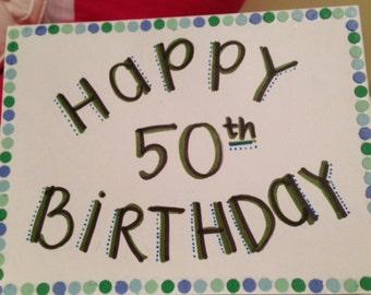 Happy Birthday card colorful polka dots
