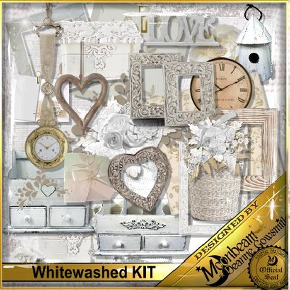 Whitewashed Digital Scrapbooking Kit  with papers, embellishments, frames, tags, mats - formal, wedding, engagement