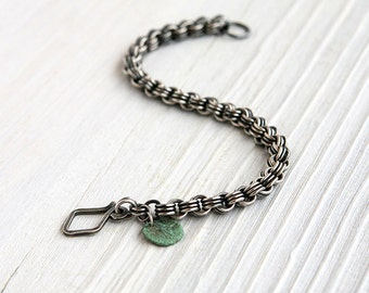 Small Oxidized Sterling Silver 3-in-3 Chainmaille Bracelet with Handmade Clasp Small 6 mm Mens Womens