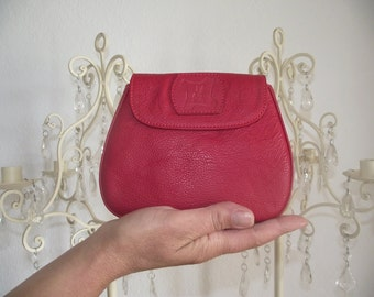 Mini red leather pouch