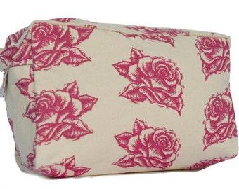 Pink Rose Cosmetic Bag