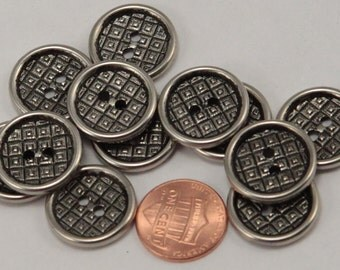 """Lot of 12 Silver Tone Metal Black Accent Hollow Back Sew-through Buttons 3/4"""" 19mm (#6311)"""