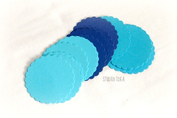 Mixed Blue Scallop Tags 2 1/2 DIY Gift Tags-or by StudioIdea