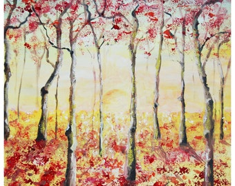 "Oil Painting Limited-edition Giclee Print ""Memories"" by Shaolan Sung, 12""x12"", with COA, Autumn"
