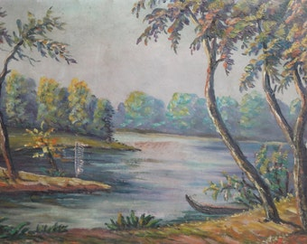 Antique oil painting river landscape