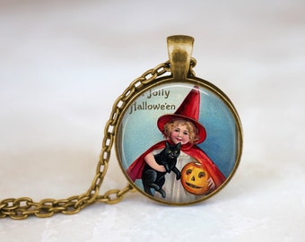 FREE SHIPPING Halloween Necklace, Halloween Pumpkin Girl Jack o Lantern, Trick or Treating Halloween Jewelry Pendant Vintage Style Halloween