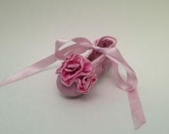 Kamara Design Ballet Slippers - Trio Ruffle Flower Ballet Slipper - Pink