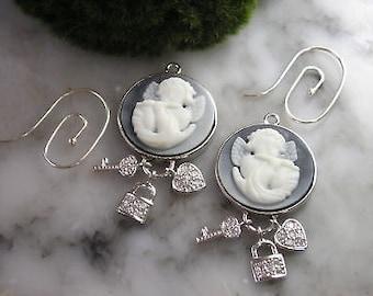 TOM K hope earrings Pandora Mix & Match chain angel Cameo Heart Love talisman