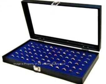 Key Lock Locking Glass Top 72 Ring Blue Jewelry Sales, Display Box Storage Case