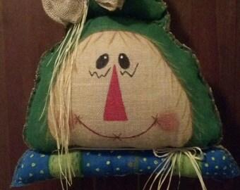 Rustic Hand Sewn Burlap Scarecrow Door Hanger