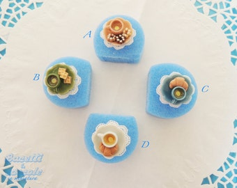 Adjustable rings with sweet miniatures made of fimo