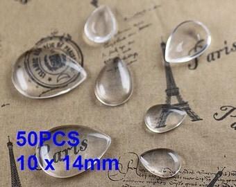 50pcs 10 x 14mm Teardrop Glass Cabochons, Teardrop Crystal Clear Glass Cabochon Tiles for base Pendants  (3010371)