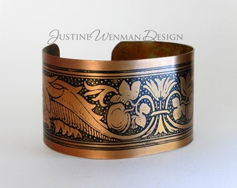 Copper Cuff Etched w/ Dolphin Motif, Marine Life, Flora and Fauna, Seaweed, Magical, Woman's Bracelet