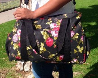 Black floral diaper bag tote bag