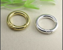 10pcs Silver Gold Tone smooth Round Shape Spring Clasps for making Bracelet Leather jewelry findings