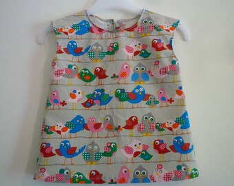 Tunic child/high child/tunic without sleeves/tunic birds/tunic 100% cotton/child tunic grey birds/tunic cotton grey/high grey