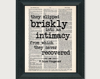 F Scott Fitzgerald Quote Typography Dictionary Art Print This Side of Paradise Quote They Slipped Briskly Into An Intimacy