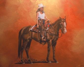 Girl on Horse SouthWestern Painting OriginalPaintingTombstone Arizona Colorful AcrylicGessoesMasoniteFramed
