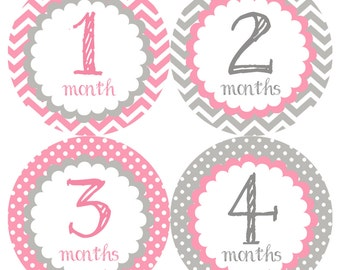 Pretty Gray & Pink Monthly Onesie Stickers - Light Pale Pink Grey Soft Classic