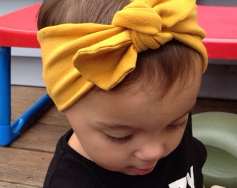 Mustard Yellow, Top Knot headband. Turban headbands. Baby Turbans. Head Wraps. Top Knot Headbands.