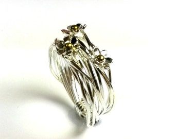 flower ring , engagement ring , gorgeous ring  ,silver with gold ,