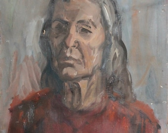 Vintage old woman portrait oil painting