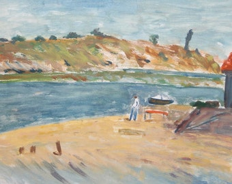 Vintage oil painting landscape river