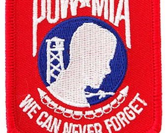 POW-MIA PATCH Red White Blue iron-on embroidered applique Military Emblem Prisoner of War