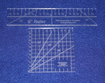 """2 Piece Ruler Set. 3"""" Square & 6"""" Long -Acrylic 1/8"""" thick. Quilting/Sewing"""