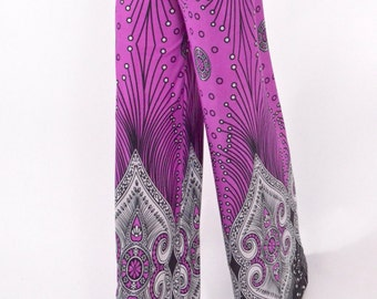 Palazzo wide leg Yoga Pants Vintage Graphic Print in Pink Black and White colors - Size Small