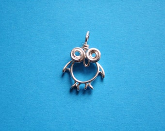Wire Owl Pendant, Silver plated copper owl necklace
