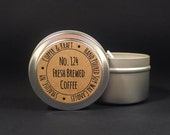No. 124 FRESH BREWED COFFEE // 4 oz. Soy Candle Tin // Highly Scented Candles // Hand Poured Soy Candles