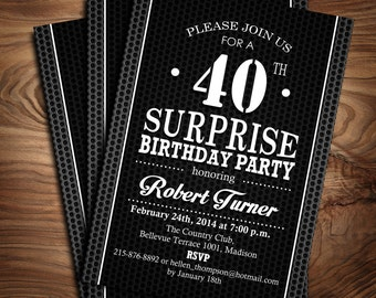 Surprise 40th Birthday Invitation / 30th / 50th/ 60th / 70th / 80th / 90th / Digital Printable Invitation / Customized