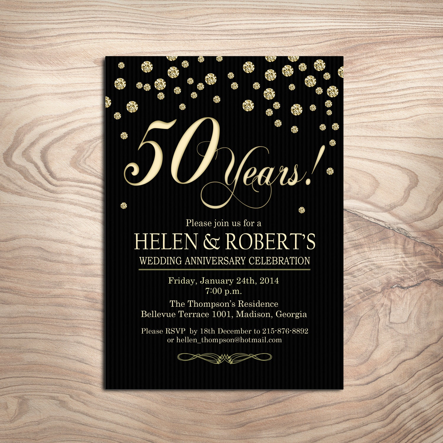 50th gold black wedding anniversary invitation digital - Wedding anniversary invitations ...