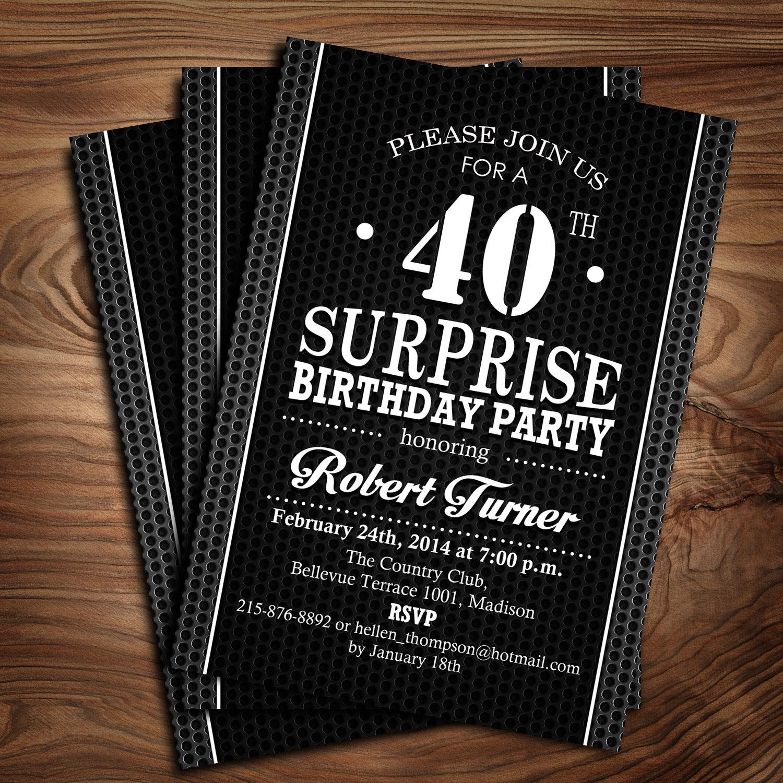 Surprise 40th Birthday Invitation / 30th / 50th/ 60th / 70th